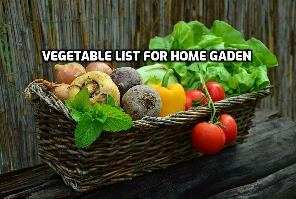 List of Vegetables for Home Garden.